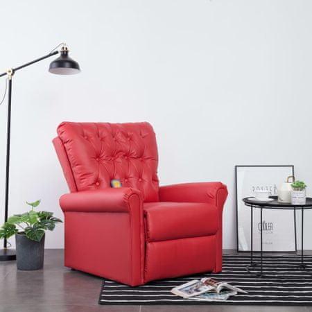 Rozkładany fotel masujący, czerwony, sztuczna skóra