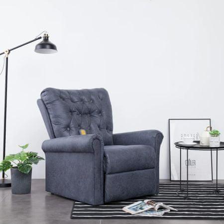 Rozkładany fotel masujący, szary, sztuczny zamsz