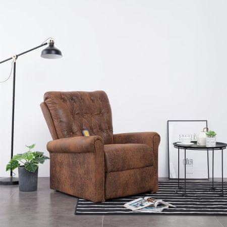 shumee Rozkładany fotel masujący, brązowy, sztuczny zamsz