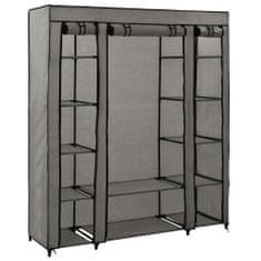shumee Šatní skříň s přihrádkami a tyčemi šedá 150x45x176 cm textil