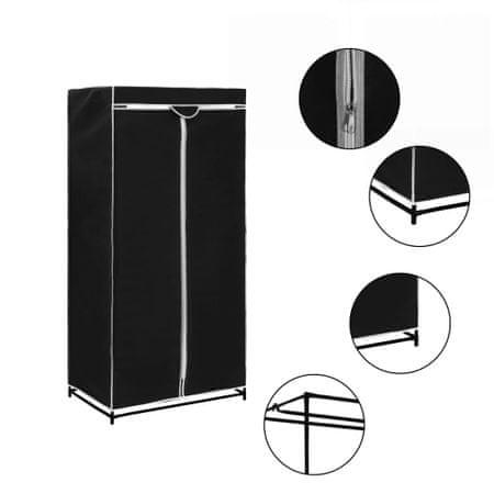 shumee fekete ruhásszekrény 75 x 50 x 160 cm