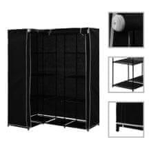 shumee Rohová šatní skříň černá 130 x 87 x 169 cm