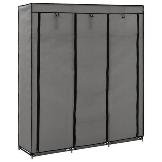 shumee Šatní skříň s přihrádkami a tyčemi šedá 150x45x175 cm textil