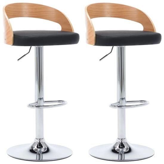 Barové stoličky 2 ks čierne umelá koža a ohýbané drevo