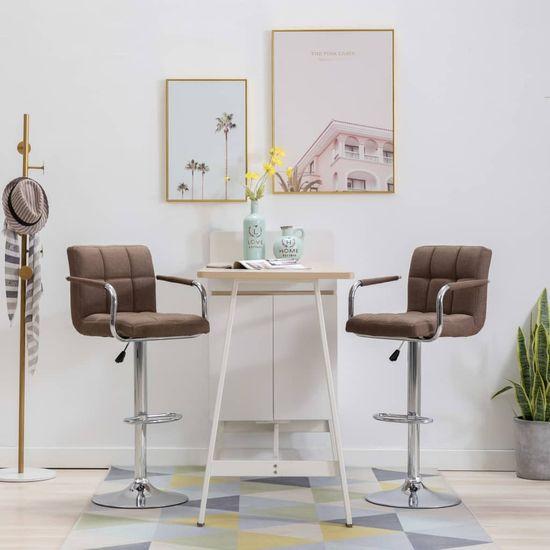 Barové stoličky 2 ks, hnedé, látka