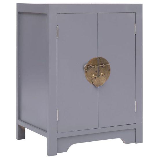 Nočný stolík, sivý 38x28x52 cm, drevo paulovnie