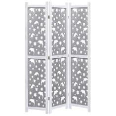 3-panelový paraván sivý 105x165 cm masívne drevo