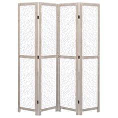 4-panelový paraván biely 140x165 cm masívne drevo