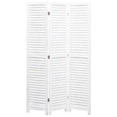 3-panelový paraván biely 105x165 cm drevený