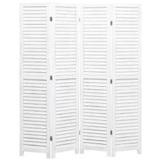 4-panelový paraván biely 140x165 cm drevený