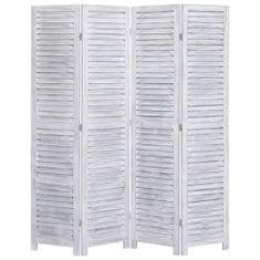 4-panelový paraván sivý 140x165 cm drevený