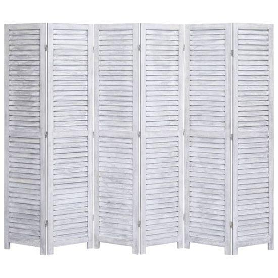 6-panelový paraván sivý 210x165 cm drevený