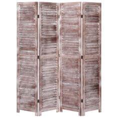 4-panelový paraván hnedý 140x165 cm drevený