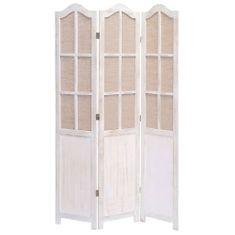 3-panelový paraván biely 105x165 cm látkový
