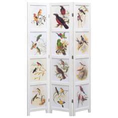 3-panelový paraván biely 105x165 cm vtáky