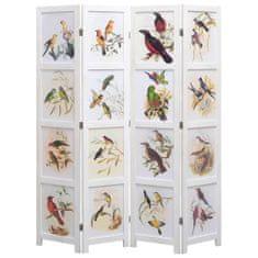 4-panelový paraván biely 140x165 cm vtáky