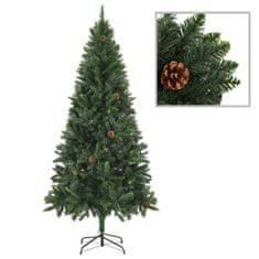 Umelý vianočný stromček s borovicovými šiškami zelený 180 cm