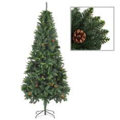 Umelý vianočný stromček s borovicovými šiškami zelený 210 cm
