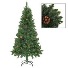 Umělý vánoční stromek se šiškami zelený 150 cm