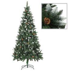 Umelý vianočný stromček s borovicovými šiškami biele vetvičky 210 cm
