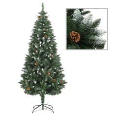 Umelý vianočný stromček s borovicovými šiškami biele vetvičky 180 cm