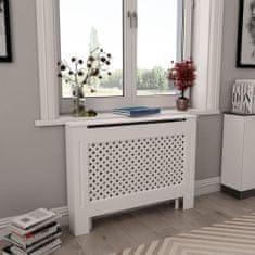 shumee Kryt na radiátor, biely 112x19x81,5 cm, MDF