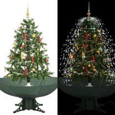 Sněžící vánoční stromeček s deštníkovým stojanem zelený 140 cm