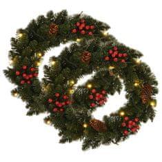 shumee Vánoční věnce 2 ks s dekorací zelené 45 cm