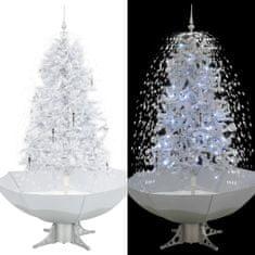 Sněžící vánoční stromeček s deštníkovým stojanem bílý 170 cm
