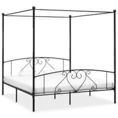 shumee Rám postele s nebesy černý kovový 200 x 200 cm