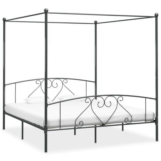 Vidaxl Rám postele s nebesy šedý kovový 200 x 200 cm