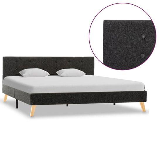 Rám postele tmavosivý 160x200 cm látkový