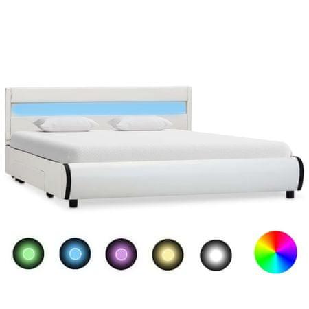 slomart Posteljni okvir LED belo umetno usnje 120x200 cm