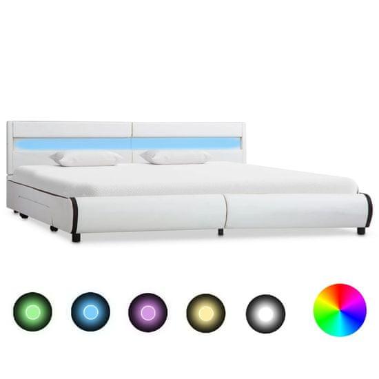 Posteľný rám s LED, biely, umelá koža 180x200 cm
