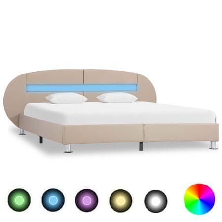 shumee kávészínű LED-es műbőr ágykeret 120 x 200 cm