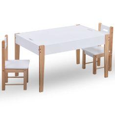 shumee 3-dielna sada detského úložného tabuľového stola a stoličiek čierno-biela