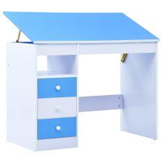 shumee Dětský kreslicí a psací stůl náklopný modrobílý
