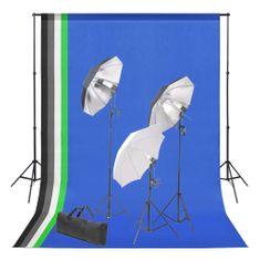 Foto studio set s fotopozadím a sadou světel