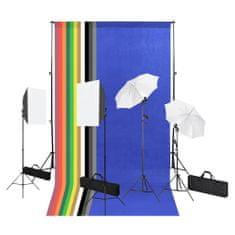 Foto studio set s fotopozadím, softboxy a slunečníkem