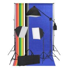 Foto studio set se softboxy a pozadím