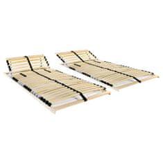 Lamelové posteľné rošty 2 ks s 28 lamelami a 7 zónami 80x200 cm