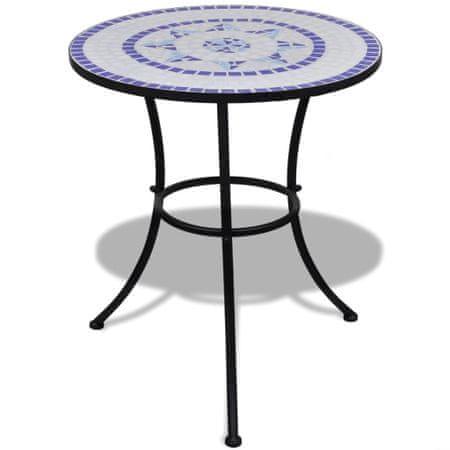 shumee Bistro miza modra in bela 60 cm mozaik