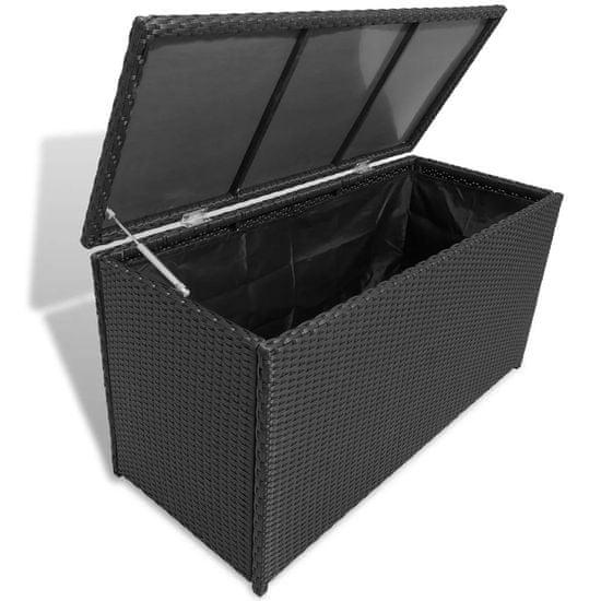 Záhradný úložný box čierny 120x50x60 cm polyratanový