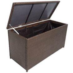 Zahradní úložný box hnědý 120 x 50 x 60 cm polyratan