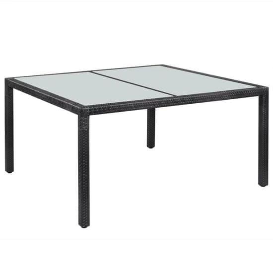 Záhradný stôl, čierny 150x90x75 cm, polyratan