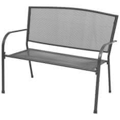 shumee Záhradná lavička 108 cm, oceľ a sieťovina, antracitová