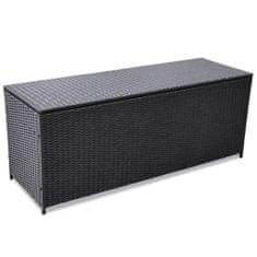 Zahradní úložný box černý 150 x 50 x 60 cm polyratan