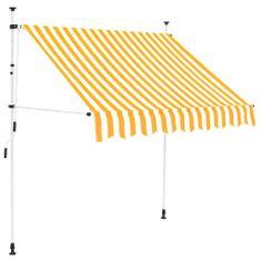 shumee Ručně zatahovací markýza 150 cm žluto-bílé pruhy
