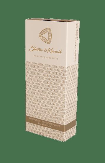 Pražská čokoláda Mandle v mléčné čokoládě se skořicí, 150g