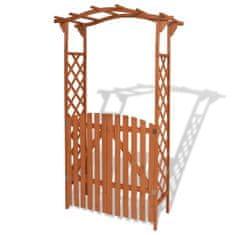 shumee Pergola ogrodowa z bramką, lite drewno, 120 x 60 x 205 cm